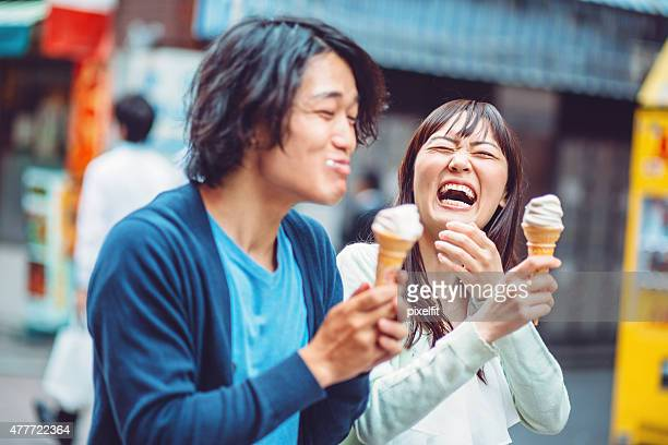 Happy japanese couple outdoors in Japan