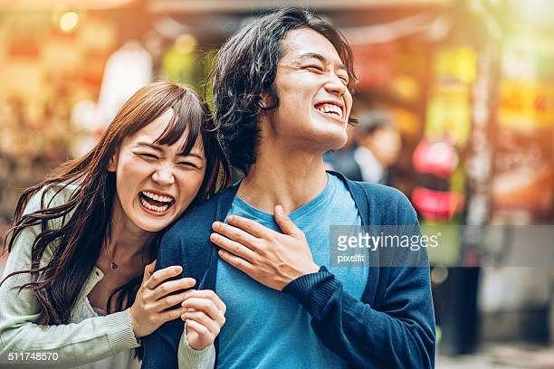 happy japanese couple - japanese culture stock pictures, royalty-free photos & images