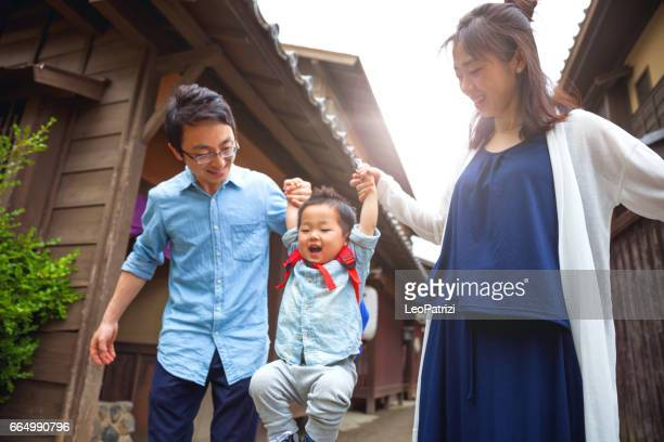 happy japanese family in kyoto - japan mom and son stock photos and pictures
