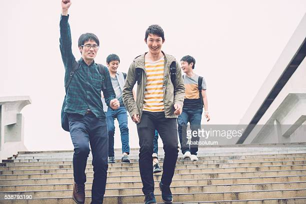 Happy Japanese Students Descending Staircase, Campus, Kyoto, Japan, Asia