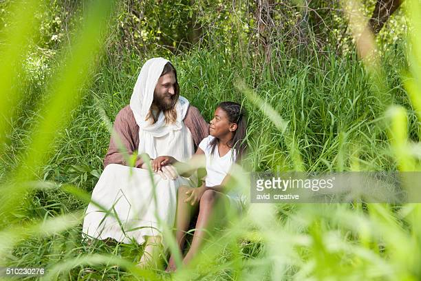 happy jesus christ and young girl - smiling jesus stock pictures, royalty-free photos & images