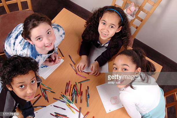 Happy kids colouring