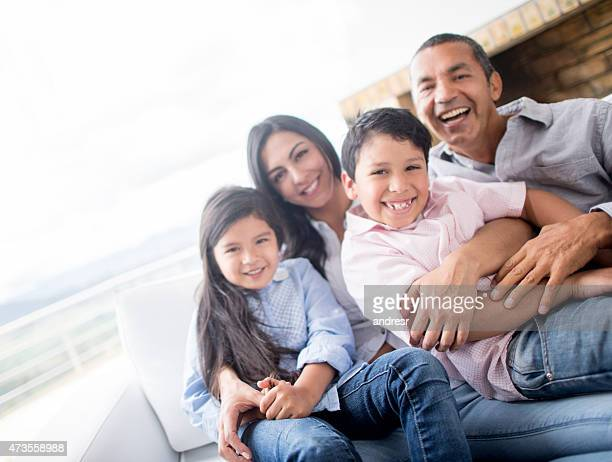 Happy Latin American family