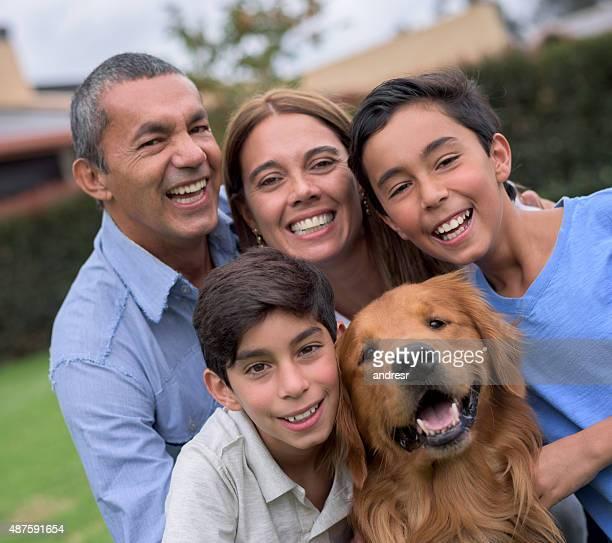 Happy Latin American family portrait