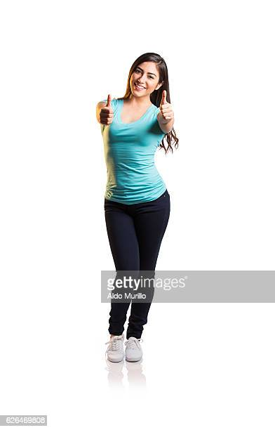 Happy latin woman giving thumbs up