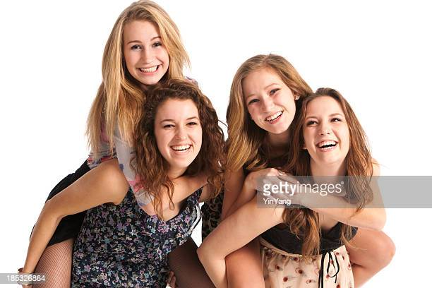 Happy Laughing Playful Young Teen Girls Friends in White Background