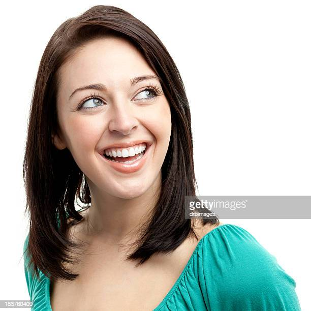 Happy Laughing Young Woman Looking Up