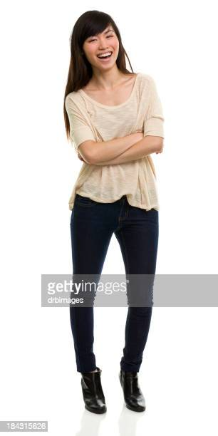 Happy Laughing Young Woman Standing Portrait