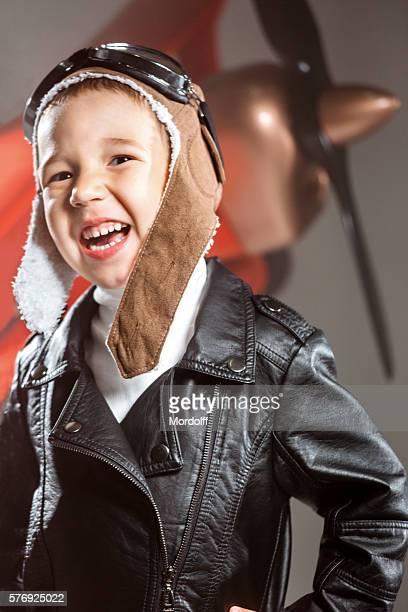 Happy Little Boy Aviator