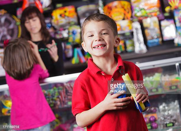 Happy Little Boy with Prizes