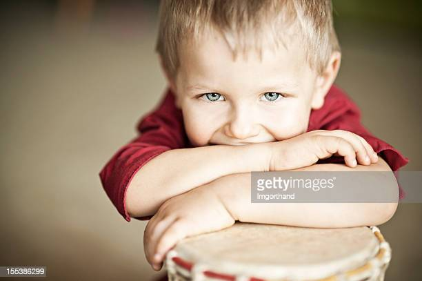 happy little drummer - percussion instrument stock photos and pictures
