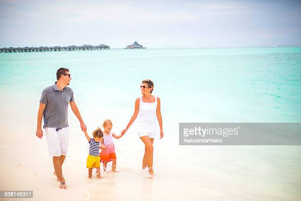 Happy little family on vacation