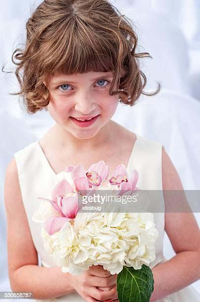 Happy Little Flower Girl in Formal Dress
