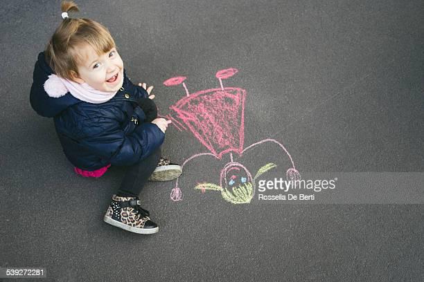 Happy Little Girl Chalking