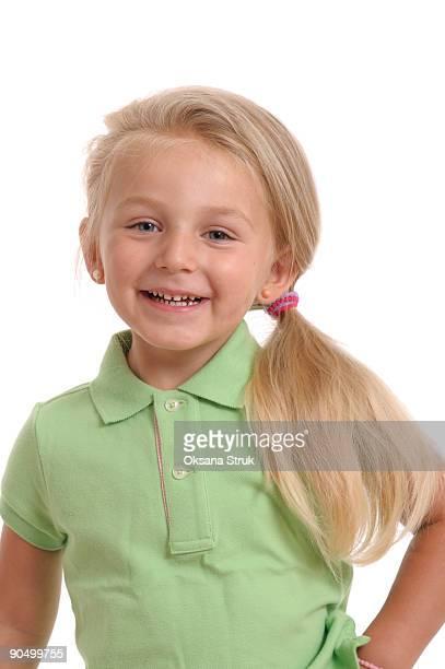 happy little girl - coda di cavallo foto e immagini stock