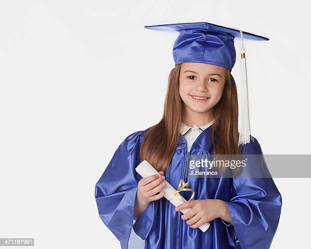 happy little graduate - diploma stock photos and pictures