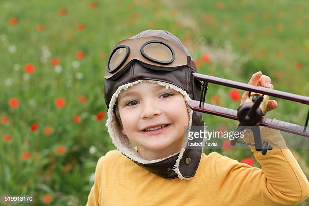 happy little pilot - aviation hat stock photos and pictures