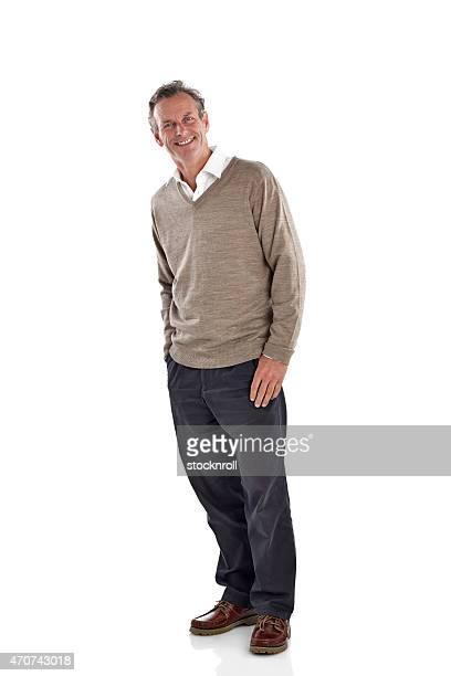 homem maduro feliz olhando em pé sobre branco - 60 64 anos - fotografias e filmes do acervo