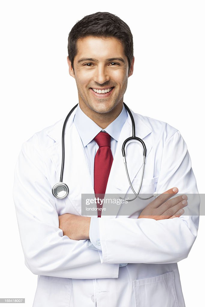 Happy Male Doctor - Isolated : Stock Photo