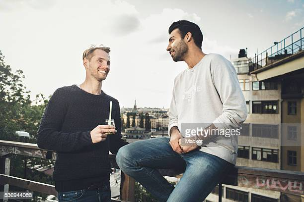 Happy male friends communicating on roof garden