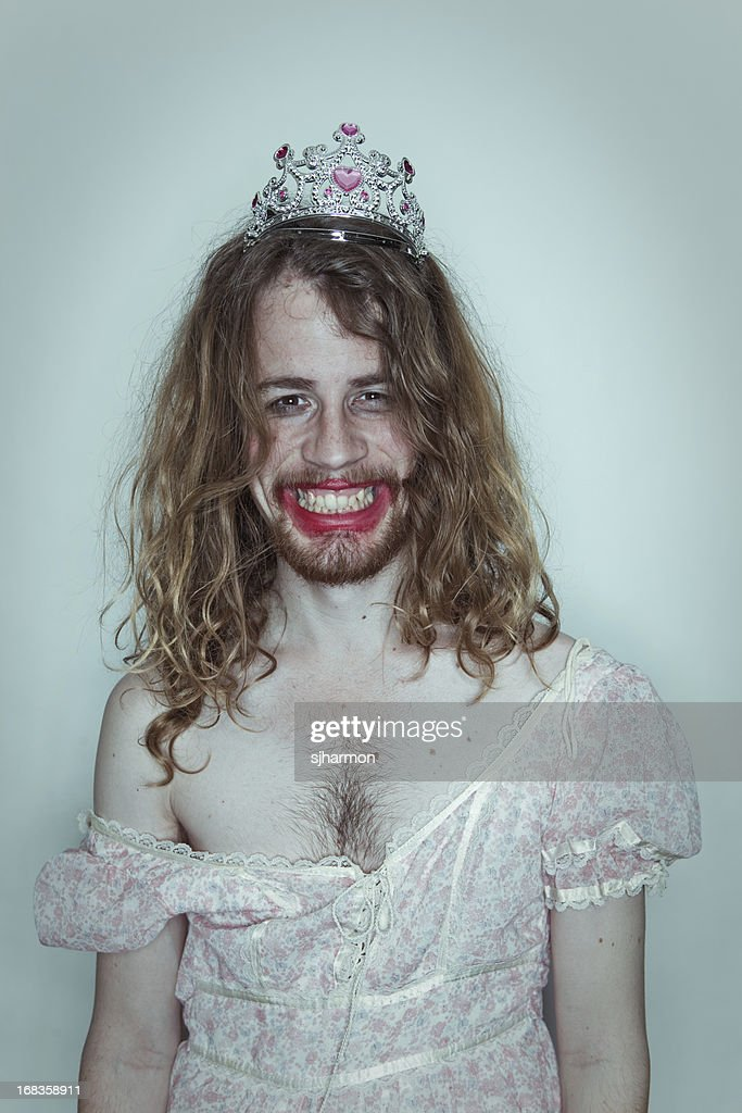 Happy Male Prom queen in drag tiara on head lipstick : Stock Photo
