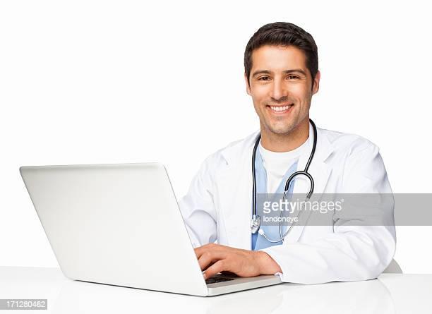 Glücklich Männlich Chirurg mit Laptop-isoliert