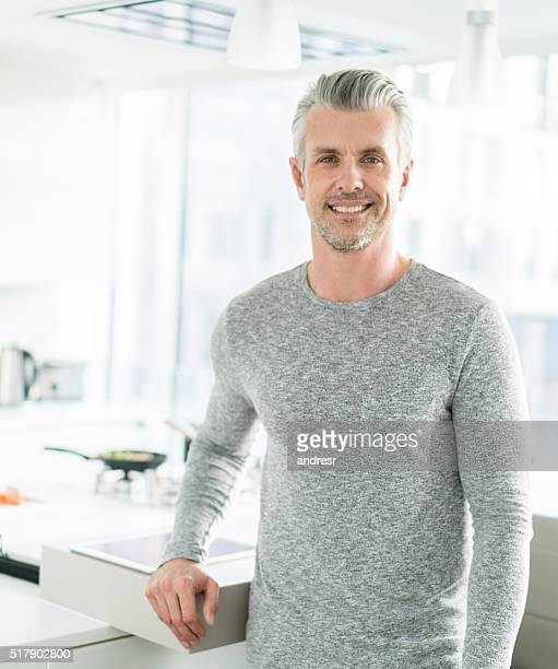 happy man at home - handsome older men stock pictures, royalty-free photos & images