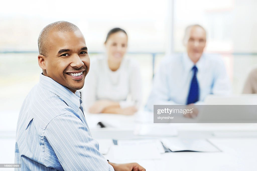 Happy man at job interview. : Stock Photo