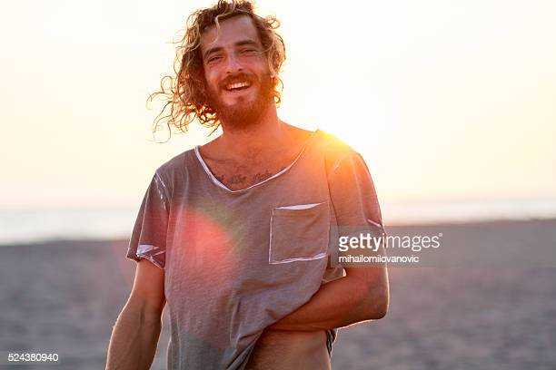 Happy man at the beach