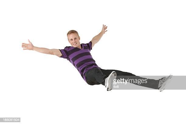 Happy man falling down