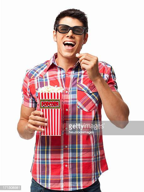 Happy Man Having Popcorn - Isolated