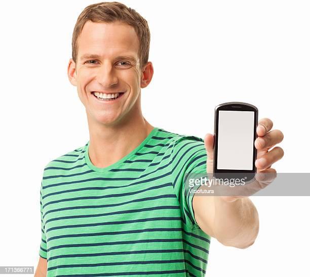 Glücklicher Mann hält Smartphone-isoliert
