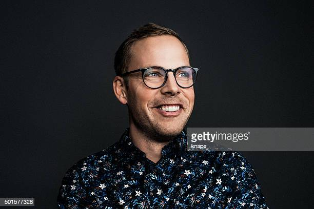 happy man in glasses - part of a series stock pictures, royalty-free photos & images