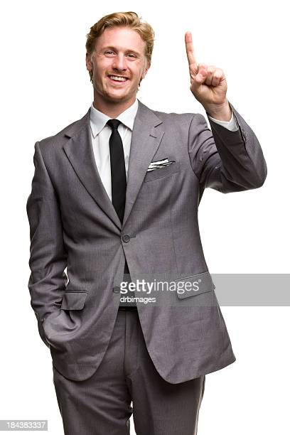 Happy Man In Suit One Finger Number 1 Hand Gesture