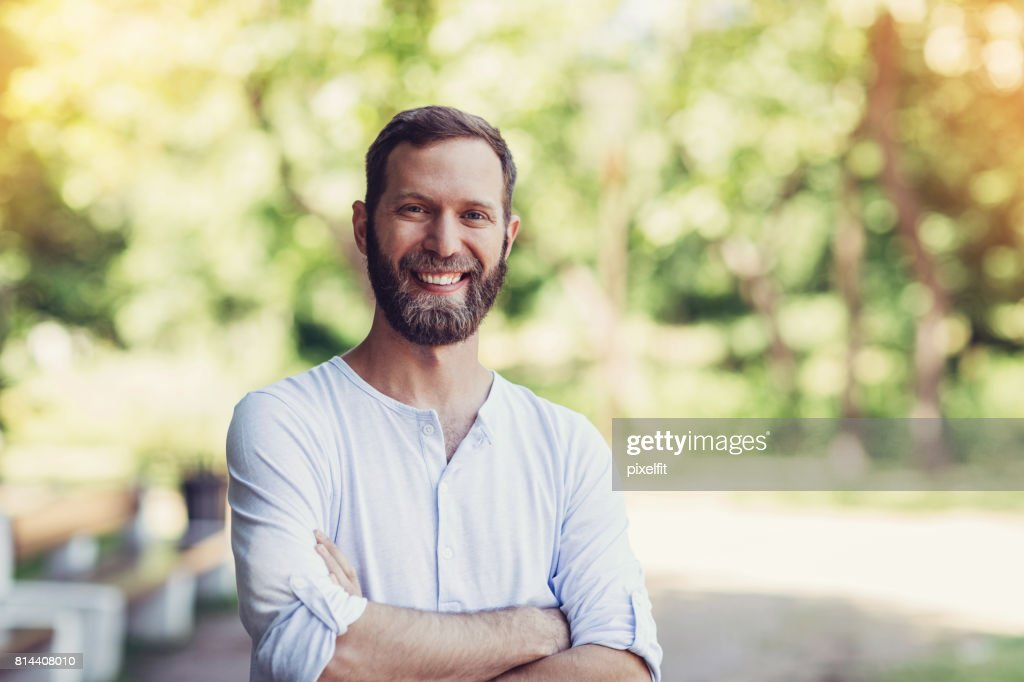 Happy man in the park : Stock Photo