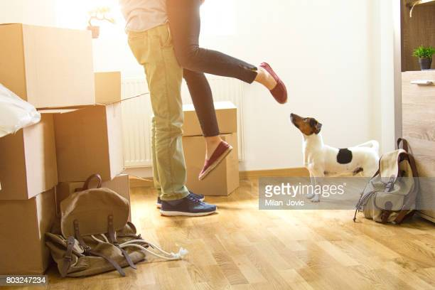 happy man lifting woman in new house - unpacking stock pictures, royalty-free photos & images