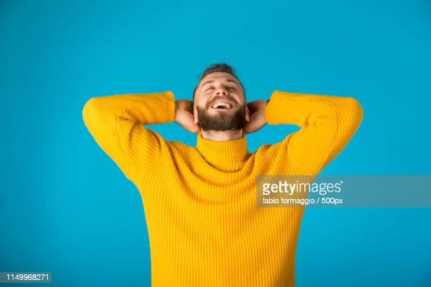 happy man portrait - turtleneck stock pictures, royalty-free photos & images