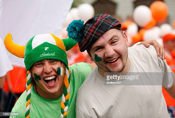 happy man portrait (saint patrick's day) - saint patrick stock pictures, royalty-free photos & images