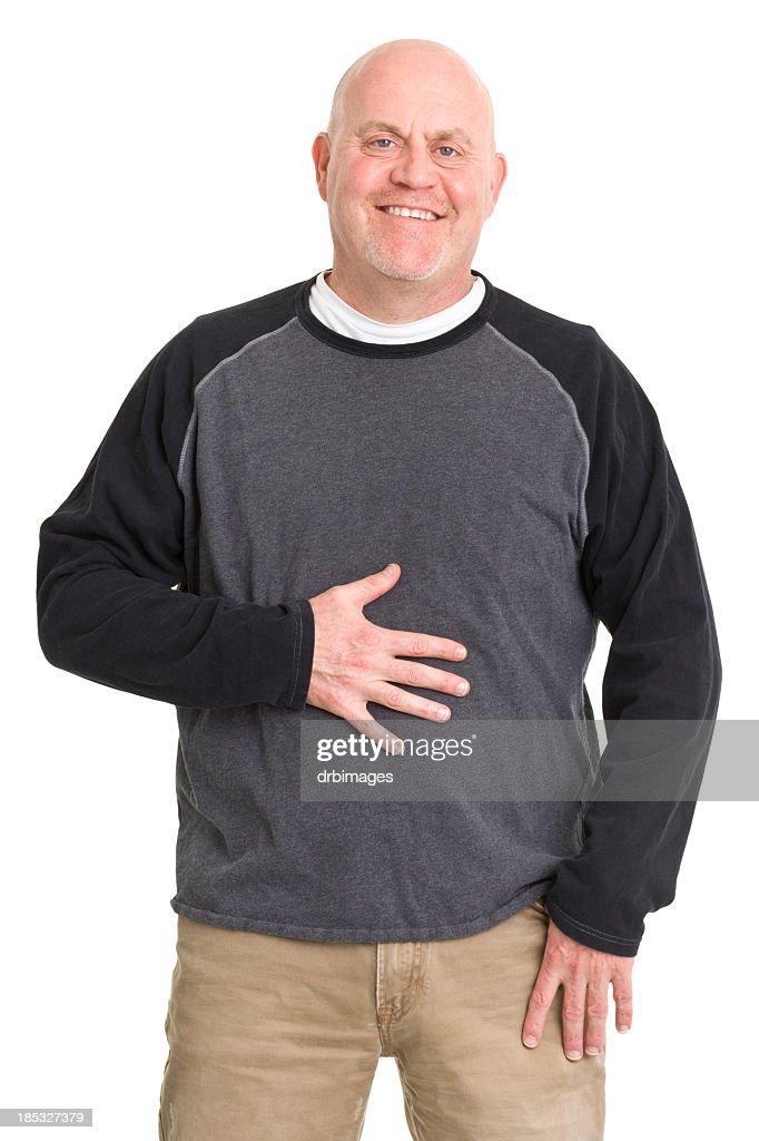 Happy Man Rubs Stomach : Stock Photo
