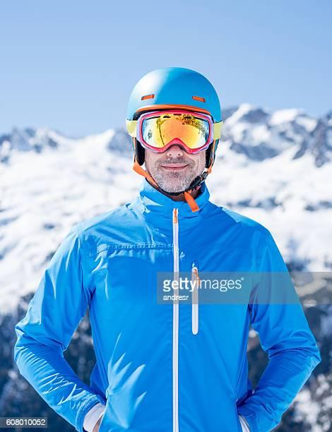 Happy man skiing
