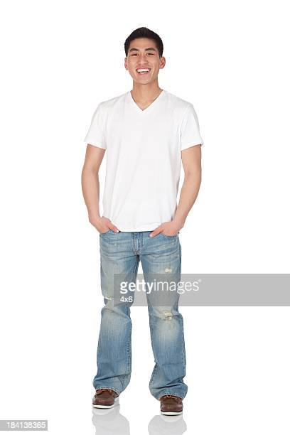 happy man standing - handsome chinese men stock pictures, royalty-free photos & images