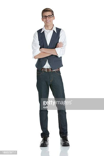 happy man standing with his arms crossed - waistcoat stock photos and pictures