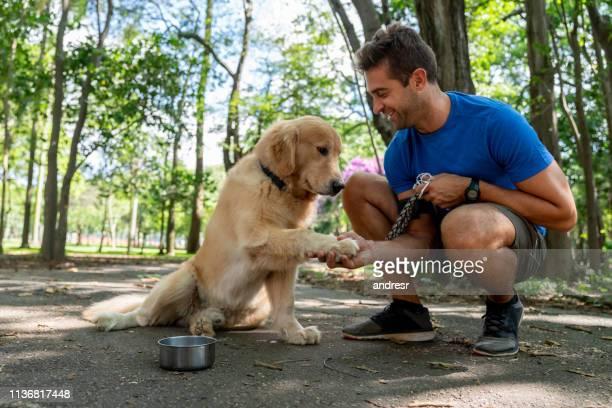 treinamento feliz do homem com seu cão no parque - andando - fotografias e filmes do acervo