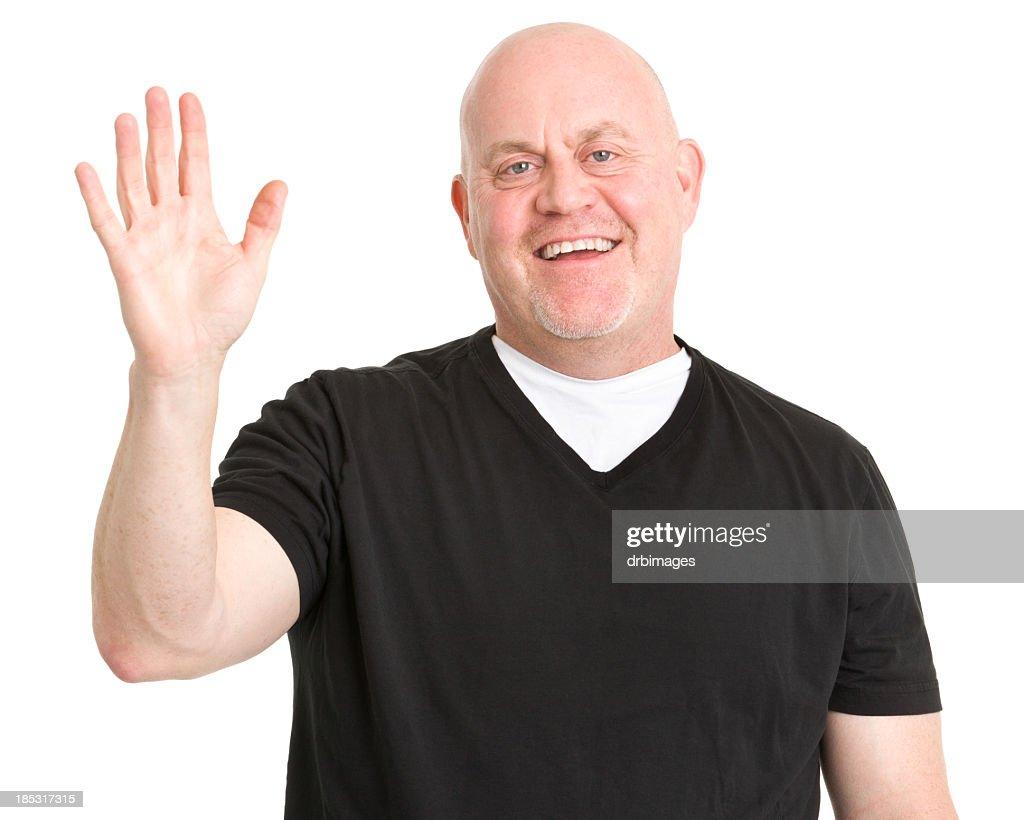 Happy Man Waves Hi : Stock Photo
