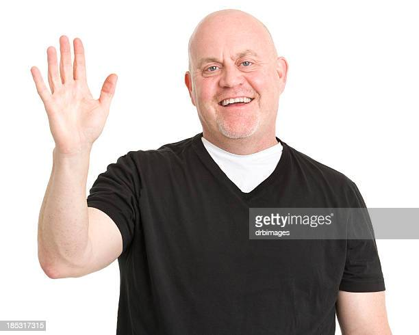 happy man waves hi - male torso stock photos and pictures