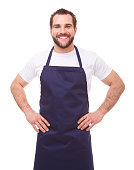 Happy man with blue apron