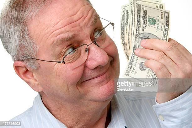Heureux homme avec de l'argent