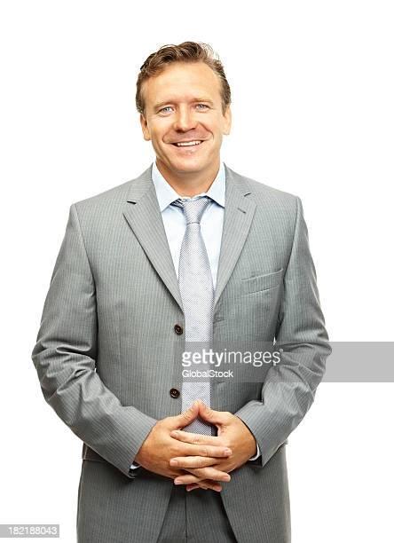 Glücklicher Reifer Geschäftsmann, isoliert auf Weiß