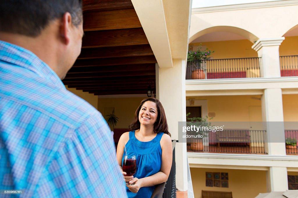 Happy mature couple enjoying drink : Stock Photo