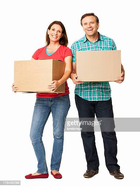 Happy Mature Couple Holding Cardboard Boxes - Isolated